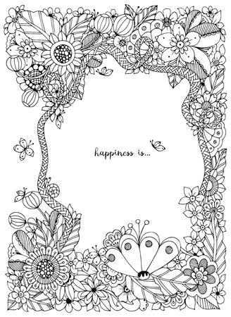 Vector illustration of floral frame Zen Tangle. Dudlart. Coloring book anti stress for adults. Coloring page. Black and white.