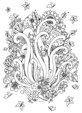 Carta zentangl Illustrazione vettoriale con fiori. Doodle fiori, primavera, gioielli, nozze. Libro da colorare anti stress per gli adulti. Bianco e nero. Archivio Fotografico - 56718525