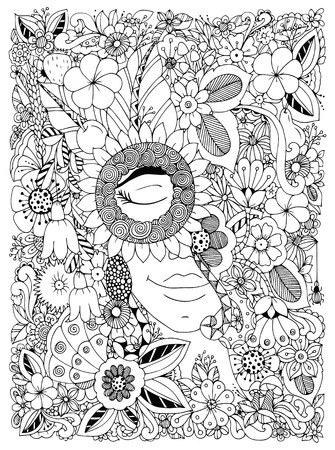 Vector illustration Zen Tangle portrait of a woman in a flower frame. Doodle flowers, forest, garden. Coloring book anti stress for adults. Coloring page. Black and white.