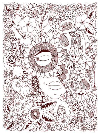 zen garden: Vector illustration Zen Tangle portrait of a woman in a flower frame. Doodle flowers, forest, garden. Coloring book anti stress for adults. Coloring page. Brown  and white.