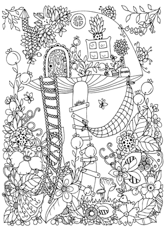 draw hands: Vector illustration Zen Tangle, doodle house of the fungus in the forest. Doodle flowers. Coloring book anti stress for adults. Coloring page. Black and white.