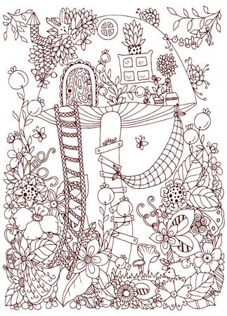 Vektor-Illustration Zen Tangle, Doodle Haus Des Pilzes Im Wald ...