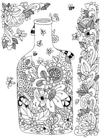 Vector illustration Zen Tangle with flowers bottle. Doodle flowers frame. Coloring book anti stress for adults. Black and white.