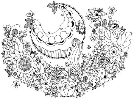 zen garden: Vector illustration Zen Tangle girl on a swing in the flowers. Doodle garden, forest, Thumbelina. Coloring book anti stress for adults. Coloring page. Black and white. Illustration