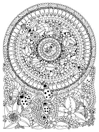 Vector illustratie Zen Tangle lieveheersbeestje in een bloem. Manali, krabbel, cirkel. Kleurboek anti-stress voor volwassenen. Zwart en wit.