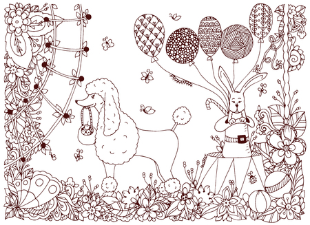 circus arena: Vector illustration of a poodle and a rabbit on the circus arena. Doodle flower performance. Coloring book anti stress for adults. Brown and white.