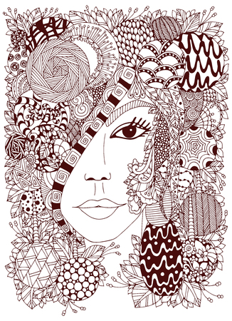 black woman face: Vector illustration Zen Tangle portrait of a woman in a flower frame. Doodle flowers, forest, garden. Coloring book anti stress for adults. Coloring page. Brown  and white.