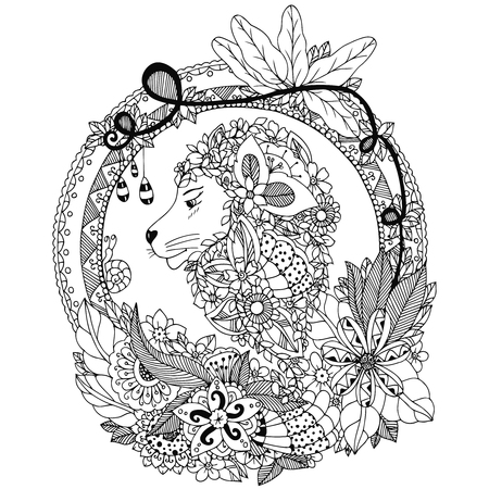 tangle: Vector illustration Zen Tangle lion in a circular floral frame. Doodle flowers, portrait. Coloring book anti stress. Black and white.