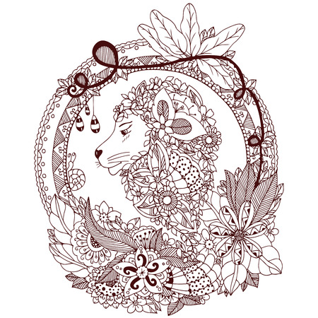 tangle: Vector illustration Zen Tangle lion in a circular floral frame. Doodle flowers, portrait. Coloring book anti stress. Brown and white. Illustration