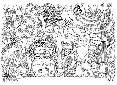 Vector illustration Zen Tangle of mushrooms in the forest. Cartoon, doodle, floral. Coloring book anti stress for adults. Black and white. Vettoriali