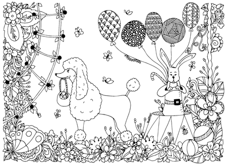circus arena: Vector illustration of a poodle and a rabbit on the circus arena. Doodle flower performance. Coloring book anti stress for adults. Black and white.