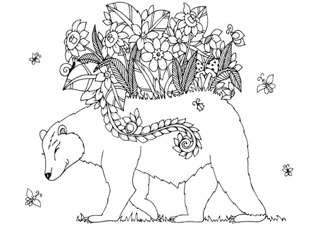 tangle: Vector illustration Zen Tangle bear with flowers. Doodle drawing floral frame. Coloring book anti stress for adults. Black and white.