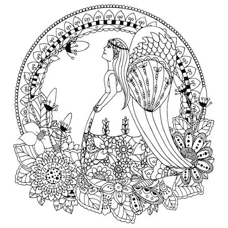 donna farfalla: Illustrazione vettoriale Zen groviglio Angelo ragazza con i fiori. Doodle disegno. Libro da colorare anti stress per gli adulti. Bianco e nero.