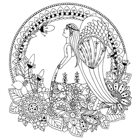 closed book: Vector illustration Zen Tangle angel girl with flowers. Doodle drawing. Coloring book anti stress for adults. Black and white.