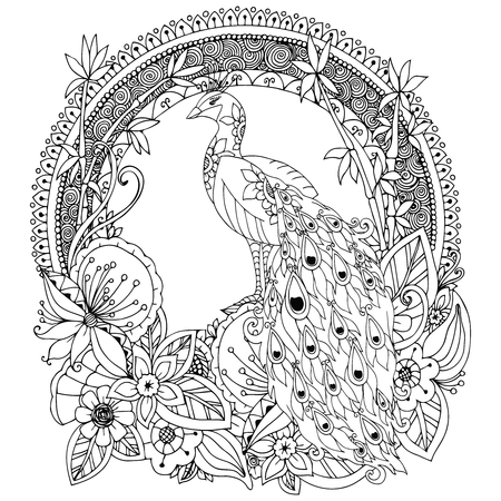 Vector illustration Zen Tangle, peacock and flowers. Doodle drawing. Coloring book anti stress for adults. Black and white.