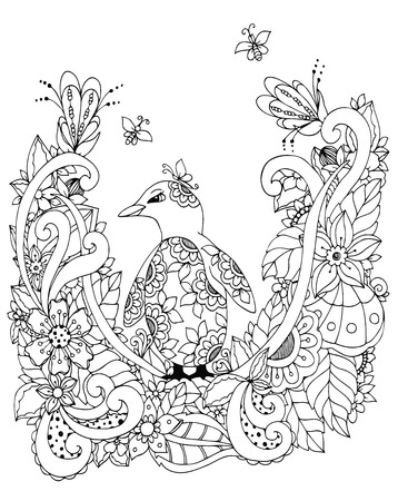 Vector illustration Zen Tangle, a penguin in a flower frame. Doodle drawing. Coloring book anti stress for adults. Black and white.  イラスト・ベクター素材
