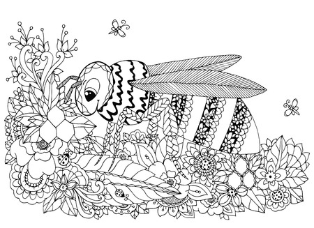 Vector illustration Zen Tangle, wasp and flowers. Doodle drawing. Coloring book anti stress for adults. Black and white.
