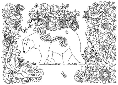 Vector illustration Zen Tangle bear with flowers. Doodle drawing floral frame. Coloring book anti stress for adults. Black and white.