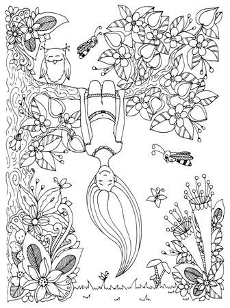 Vector illustration Zen Tangle, girl hangs on a tree upside down. Doodle floral frame. Coloring book anti stress for adults. Black and white. Иллюстрация