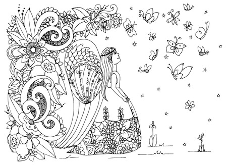 animal hair: Vector illustration Zen Tangle angel girl with flowers. Doodle drawing. Coloring book anti stress for adults. Black and white.