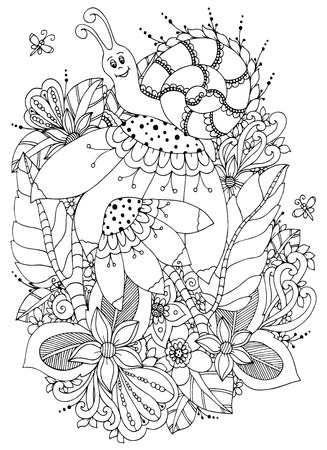 cartoon snail: Vector illustration Zen Tangle Snail on flowers. Doodle drawing. Coloring book anti stress for adults. Black and white.