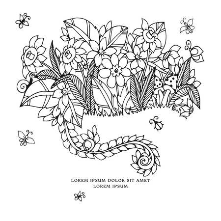anti stress: Vector illustration zentangl card with flowers. Doodle flowers, spring, jewelry, wedding. Coloring book anti stress for adults. Black and white.