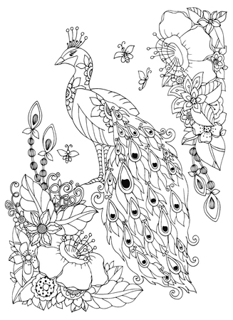 tangle: Vector illustration Zen Tangle, peacock and flowers. Doodle drawing. Coloring book anti stress for adults. Black and white. Illustration