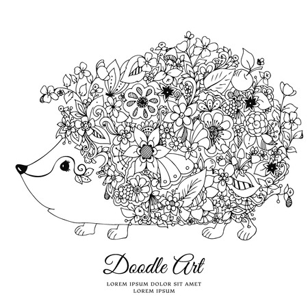 anti stress: Vector illustration zentangl hedgehog with flowers. Doodle animal, forest, nature, puddle. Coloring book anti stress for adults. Black white.