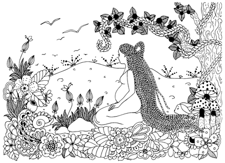 pregnant black woman: Vector illustration Zen Tangle, a pregnant woman sitting in flowers. Doodle drawing. Coloring book anti stress for adults. Black white.