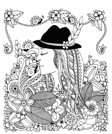tangle: Vector illustration Zen Tangle girl in hat and flowers. Doodle drawing. Coloring anti stress for adults. Black and white. Illustration