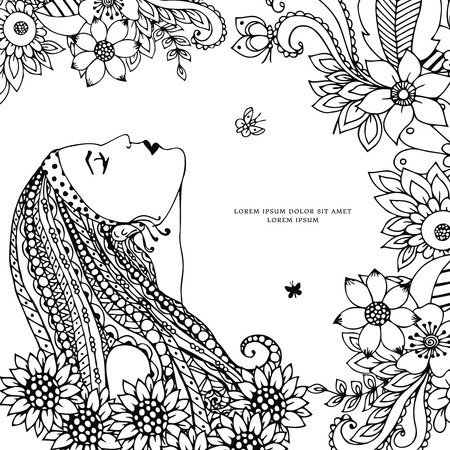 tangle: Vector illustration Zen Tangle girl with flowers. Doodle drawing. Coloring book anti stress for adults. Black and white.