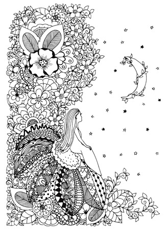 little girl sitting: Vector illustration Zen Tangle, little girl sitting on a flower and looking at the stars. Doodle drawing. Coloring anti stress for adults. Black and white.