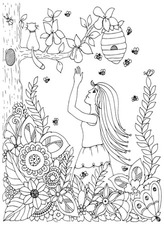 tangle: Vector illustration Zen Tangle , woman, girl and pear. Doodle drawing flowers. Coloring book anti stress for adults. Black and white.
