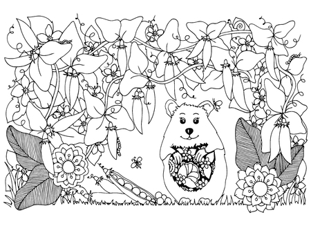 tangle: Vector illustration Zen Tangle , hamster and peas. Doodle flowers pattern. Coloring book anti stress for adults. Black and white.