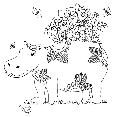 tangle: Vector illustration Zen Tangle, Hippo with flowers, isolated. Doodle drawing. Coloring book anti stress for adults. Black and white.