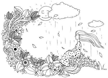 female hands: Vector illustration Zen Tangle, girl sitting on apples, is rain. Doodle flowers. Coloring book anti stress for adults. Black and white. Illustration