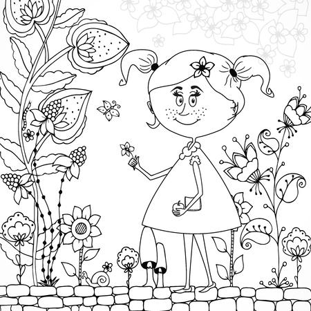 Ilustración Vectorial Chica Zen Enreda En Un Vestido De Flores ...
