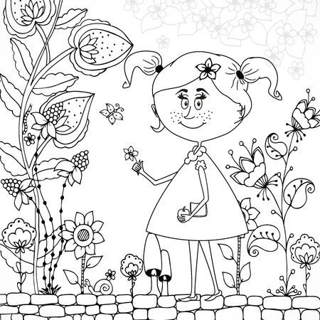 tangle: Vector illustration Zen Tangle girl in a floral . Doodle flowers, tree. Coloring book antis stress for adults. Black and white.