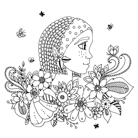 stress woman: Vector illustration  portrait of a woman in a flower frame. Doodle. Coloring book anti stress for adults. Black white. Illustration