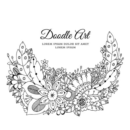 anti stress: Vector illustration of floral frame . Dudlart. Coloring book anti stress for adults. Black and white. Illustration