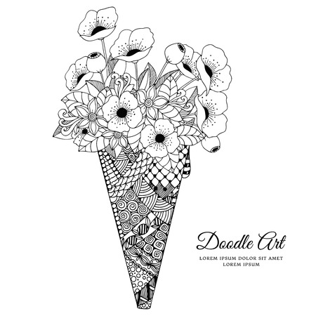serviette: Vector illustration Zen Tangle, ice cream with poppies. Doodle drawing. Coloring book anti stress for adults. Black and white.