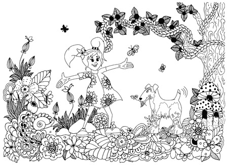fox terrier: Vector illustration Zen tnagl, girl and dog in flowers. Doodle drawing. Coloring book anti stress for adults. Black and white.