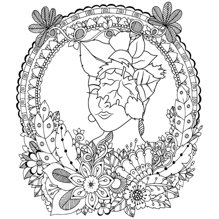 autumn woman: Vector illustration Zen Tangle angel girl with flowers. Doodle drawing. Coloring book anti stress for adults. Black and white.
