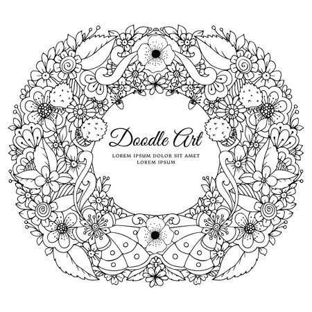 anti stress: Vector illustration of floral frame Zen Tangle. Dudlart. Coloring book anti stress for adults. Black and white.