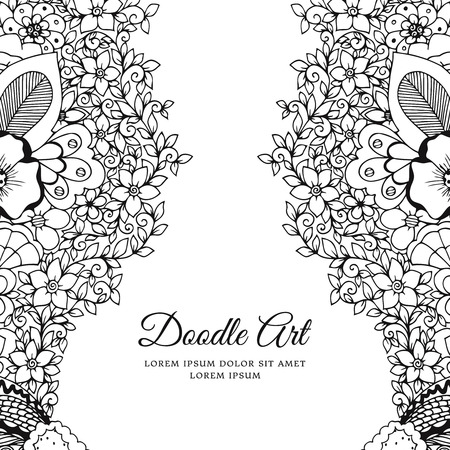 zen vector: Vector illustration of floral frame Zen Tangle. Dudlart. Coloring book anti stress for adults. Black and white.