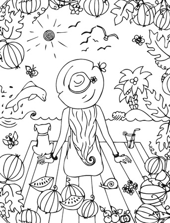 watermelon woman: Vector illustration zentangl girl, woman with a dog in the sea, holiday, travel. Back, doodle watermelon. Dolphin palms. landscape. Coloring anti stress for adults. Black and white. Illustration