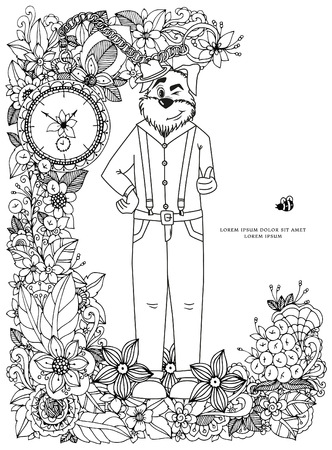 cartoon adult: Vector illustration Zen Tangle, a dog in a flower frame. Doodle drawing. Coloring book anti stress for adults. Black and white. Illustration