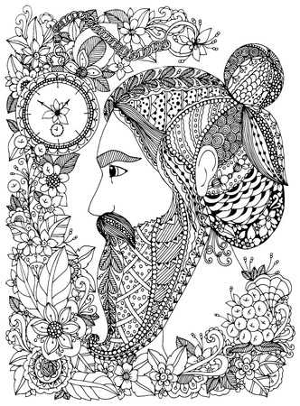 tangle: Vector illustration Zen Tangle portrait of a man with an ornament. Doodle floral frame. Coloring book anti stress for adults. Black and white.