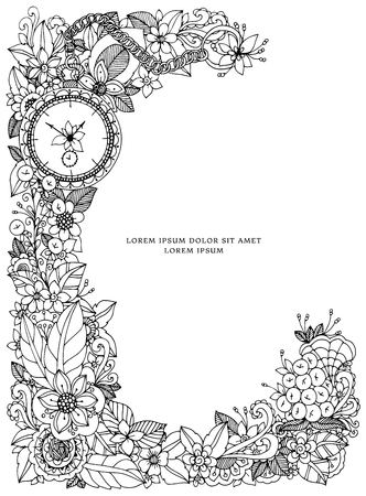 anti stress: Vector illustration of floral frame Zen Tangle. Dudlart. Coloring book anti stress for adults. Coloring page. Black and white.