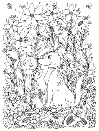 zen garden: Vector illustration Zen Tangle dog and puppy sitting in the flowers. Doodle garden, spring. Coloring book anti stress for adults. Black and white. Illustration
